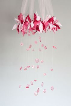 Shabby Chic // Baby Pink // Hot Pink // Fabric and Lace Fairy Pink Crystal Baby Mobile