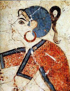 Female Character on Ancient Minoan Fresco. Wearing hoop earrings like today