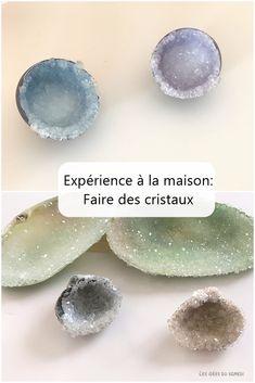 Une expérience amusante et facile à faire à la maison: faire pousser des cristaux dans des coquillages et dans des oeufs pour fabriquer des géodes