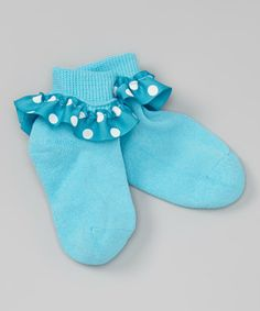 Another great find on #zulily! Turquoise Polka Dot Ruffle Socks #zulilyfinds