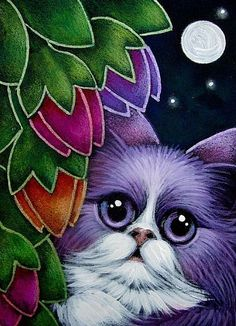 Art 'VIOLET FAIRY CAT IN MY RAINBOW FLOWERS GARDEN' - by Cyra R. Cancel from