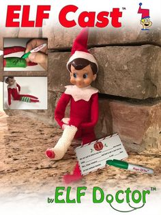 "Elf Cast Need to take a few days off? Losing your mind trying to think of new places for the elf? Give yours(elf) a ""break"" and get your elf a cast! With the Elf Cast and included note from Santa, your elf can … Christmas Activities, Christmas Traditions, Family Activities, Elf Cast, Elf On The Shelf, Shelf Elf, To Do App, Der Elf, Elf Auf Dem Regal"