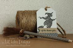 Bats & Broomsticks Stamps, Folding Tag Die - Original, Stitched Sentiments Flag by Sarah Jay of Criminal Grace