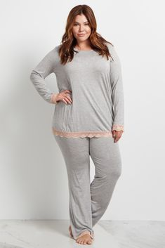 1ece594714 Pink Lace Trim Plus Size Maternity Pajama Bottoms