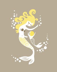 mermaid mother & baby girl taupe/gray butter yellow by ThePaperNut, $20.00 --