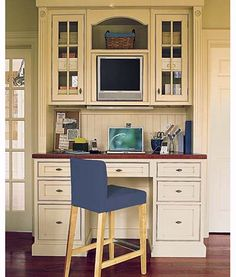 kitchen office nook---place to charge gadgets, dock laptop, watch tv, still be where the action is Home Office Furniture, Home Kitchens, Kitchen Office Nook, Interior, House, Home Decor, Home Office Space, Kitchen Office, Office Interiors