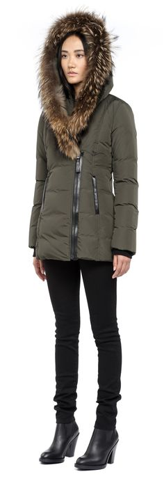 Mackage - ADALI-F4 ARMY FITTED WINTER DOWN COAT WITH FUR HOOD FOR WOMEN