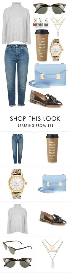 """walk to office"" by indirag on Polyvore featuring Topshop, Kate Spade, Sophie Hulme, Louise et Cie, Ray-Ban, Jules Smith, women's clothing, women, female and woman"