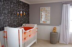 A gender neutral orange, gray and white nursery. The black and gray alphanumeric wallpaper makes a beautiful contrast against the bright orange bedding set. Grey White Nursery, Orange Nursery, Orange Bedding, Nursery World, Nursery Room, Nursery Ideas, Orange Grey, Grey And White, Church Interior Design