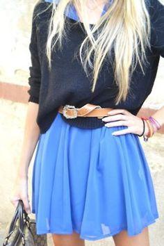 Navy blue sweater over cognac blue sheer dress with cognac leather wrap belt.