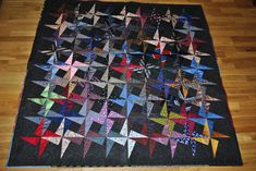 quilts patterns made from mens ties | This is a tessellating star pattern made with men's ties.