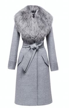 SENTALER Luxury Outerwear Langer Mantel mit Pelzkragen Source by Theclosetconsul Long Grey Coat, Long Fur Coat, Grey Fur Coat, Coats With Fur, Long Coats, Faux Fur Collar Coat, Look Fashion, Winter Fashion, Fashion Outfits