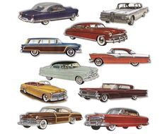 1950's CARS STICKERS Packet of 10 Retro Look by cafeamericaine