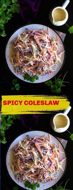 Slaw Recipes, Spicy Recipes, Vegan Dinner Recipes, Vegan Dinners, Spicy Coleslaw, Spicy Chicken Sandwiches, Coriander Cilantro, Soup And Salad, Pasta Salad