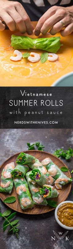 Fresh, light and delicious, Vietnamese summer rolls are a great appetizer or light meal any time of the year. Crisp vegetables, bright herbs and shrimp are rolled in a rice paper wrapper, with a side of sweet and salty peanut sauce for dipping. Great Appetizers, Healthy Appetizers, Appetizer Recipes, Healthy Snacks, Healthy Eating, Healthy Recipes, Whole30 Recipes, Recipes Dinner, Vietnamese Summer Rolls