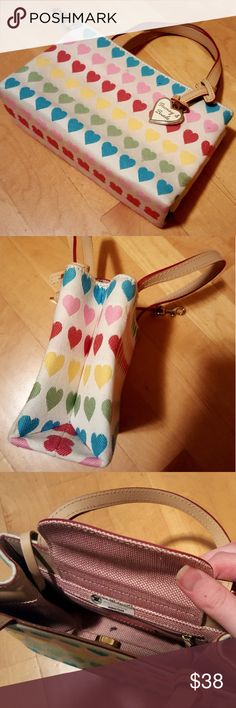 Dooney and Bourke Heart Mini Tote Bag Rainbow heart mini tote style bag from Dooney and Bourke! Super cute and in good condition, as seen in pictures. Dooney & Bourke Bags Totes