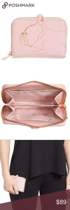 TED BAKER LONDON Danyela Leather Zip Purse TED BAKER LONDON Danyela Leather Zip Purse. Light pink  An adorable French bulldog stands ready to guard your cards and cash in this pretty little purse perfect for stashing in your pocket for evenings out on the town. Zip-around closure Divided interior Leather Ted Baker London Bags Wallets