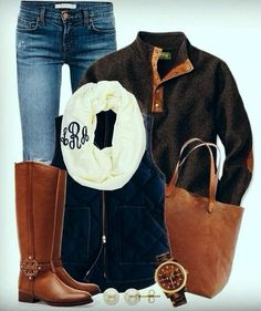 Preppy Fall Fashion - Loving the monogram infinity scarf. I would love those boots and a infinity monogrammed scarf.