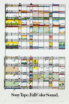 "MILTON GLASER, 1979 -- ""Sony Tape Full Color Sound ""   -- ""I used the score of Beethoven's 6th Symphony as the background to a pastoral intervention."""