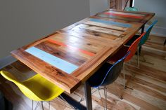 Industry Reclaimed Dining Table - Colour Accented from http://urbantables.ca/dinning/industry-reclaimed-dining-table