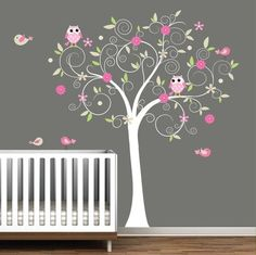 Loving this shade of gray for a nursery.  Very calm for a babies room and cute with pops of color in the tree scene.