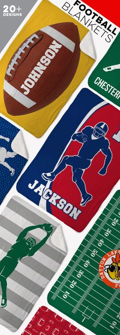 Football season can have you out in the cold on Saturday morning games. Stay warm with a personalized team or player blanket. You can also add a football touch to your player's bedroom. Several designs and colors to choose from. Click for more information.