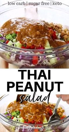 """Thai peanut salad is packed full of Asian flavors! This Thai recipe has everything - creamy Thai peanut sauce, crunchy cabbage and peanuts, sweet and a little spice. Add cooked chicken to make a perfect Thai peanut chicken salad for lunch or dinner. A low carb and keto salad recipe that everyone will go """"peanuts"""" over. #salad #thai #slaw #cabbage #thaifood #thairecipe #healthyrecipe #saladrecipe #lowcarb #glutenfree #sugarfree #keto #ketogenic #ketosalad Less Ingredients Produce 4 cupsCabb Healthy Salad Recipes, Thai Recipes, Asian Recipes, Low Carb Recipes, Whole Food Recipes, Diet Recipes, Cooking Recipes, Healthy Broccoli Salad, Low Carb Sauces"""