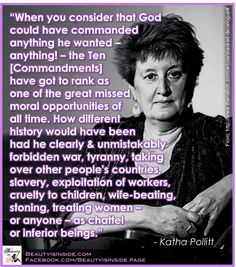 Katha Pollitt on the Ten Commandments as a huge, missed opportunity.  Same goes for the other canonical laws, really.