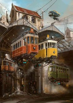 The Art of Animation: Alejandro Burdisio - Tranvías (Tramcars) is part of the Universo Chatarra (Scrap Metal Universe) series. This series is based in vehicles and places long gone, memories from my childhood that both inspire and take me back to those times.