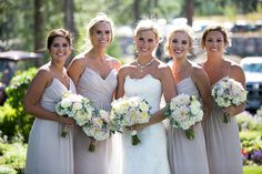 Neutral bridesmaid dresses. Vintage Chic Lake Tahoe wedding at @MartisCamp with @summitsoiree and Ciprian Photography, @fvrentals