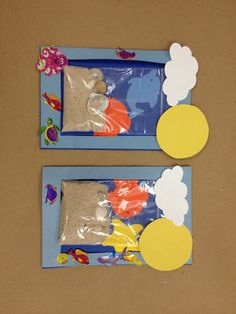 Summer art class project -beach scenes Nailed it! Summer Crafts, Summer Art, Summer Kids, Toddler Art, Toddler Crafts, Crafts For Kids, Sea Crafts, Ocean Themes, Preschool Activities