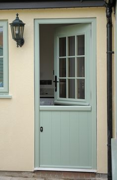 Sage green stable door (at the milford window company). Would make a lovely back door into a garden. Garage Door Design, Garage Doors, Upvc Stable Doors, Window Company, Cottage Door, Composite Door, External Doors, Back Doors, Windows And Doors