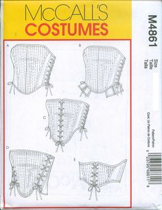 Corset Stays Bodice Sewing Pattern Renaissance Medieval McCalls 4861Sizes 6-8-10-12. Must Find!!!