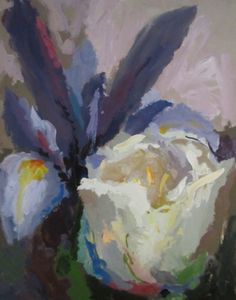 """""""Irises and Tulip,"""" Acrylic on Canvas, 60 x 48 in."""