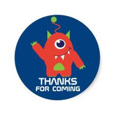 Thanks for coming kids alien birthday sticker art and design by www.sarahtrett.com