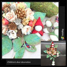 Flower arrangement of living made of natural materials. 天然素材で作る暮らしのフラワーアレンジメント(子ども部屋のドア飾り)