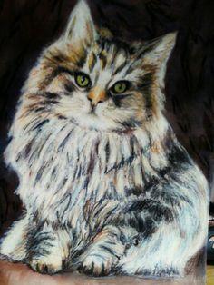 Gatito. Acuarela y ceras Owl, Bird, Kitty, Watercolor Painting, Crayons, Animales, Birds, Owls