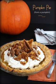 best Pumpkin Pie topped with Mascarpone Whipped Cream and Pumpkin Seed Toffe… The best Pumpkin Pie topped with Mascarpone Whipped Cream and Pumpkin Seed Toffee. Pumpkin Pie From Scratch, Best Pumpkin Pie Recipe, Homemade Pumpkin Puree, Homemade Desserts, Pumpkin Recipes, Real Homemade, Pumpkin Crumble Cake, Pumpkin Dessert, Pumpkin Pumpkin