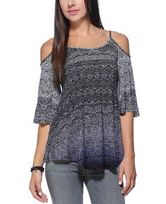 Patrons of Peace Printed Knit Cold Shoulder Top #BacktoSchoolWishlist @SouthMoonUnder