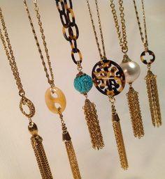 Tassel necklaces by Lorren Bell.