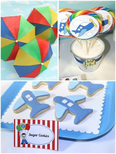 Cool Customers: Aeroplanes and Parachutes Party! by Birds Party Planes Party, Airplane Party, Party Themes For Boys, Bird Party, School Events, Boy Birthday Parties, Sugar Cookies, Party Planning, Birthdays