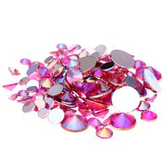 4mm 5mm 6mm 10mm And Mixed Sizes Rose AB Acrylic Rhinestones For Nails Design Crystal 3D Nail Art Glitter Decorations #Affiliate