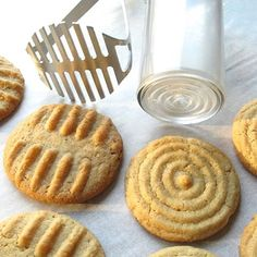 Kitchen implement cookies - using potato masher or pusher from a food processor to create nice pattern