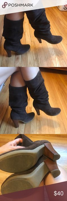 Victoria's Secret slouchy boots Worn once. No damages that I have noticed. Will need refreshing since they were hidden in the closet. Upper part leather. Victoria's Secret Shoes Heeled Boots