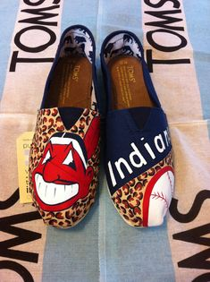 Custom Hand Painted Cleveland Indians Toms
