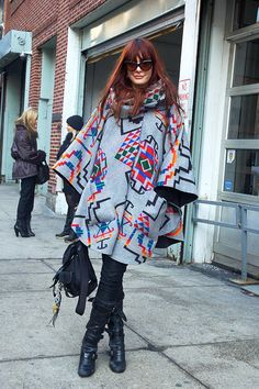 Lindsey Thornburg fights the cold in a colorful cape (of her own design).