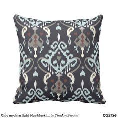 Chic modern light blue black ikat tribal pattern throw pillow