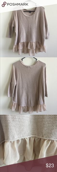 Flirty Blush Sweater This piece is so romantic! The blush color is stunning and the sheer ruffle at the hem makes the whole sweater so whimsical. Has a loose fit and the hem is lower in the back than in the front. Sleeves are 3/4 in length. American Eagle Outfitters Sweaters Crew & Scoop Necks