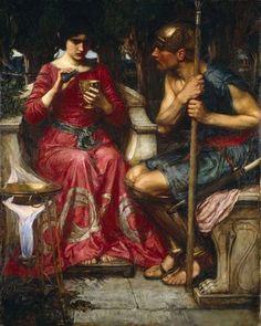 """""""Jasón y Medea"""", J. W. Waterhouse  El rey de la Cólquida prometió entregarle a Jasón el Vellocino de Oro si conseguía atar a los bueyes que lo custodiaban y arar un campo con ellos. Medea, hija del rey y hechicera, enamorada de Jasón, le dio a éste una pócima para que nada pudiese dañarle."""