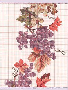 tablecloth pinned from lutarcik. Cross Stitch Fruit, Cute Cross Stitch, Cross Stitch Charts, Cross Stitching, Cross Stitch Embroidery, Stitch 2, Le Point, Blackwork, Needlepoint